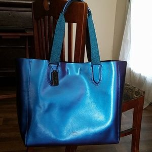 Coach Large Derby Tote Hologram Blue Leather
